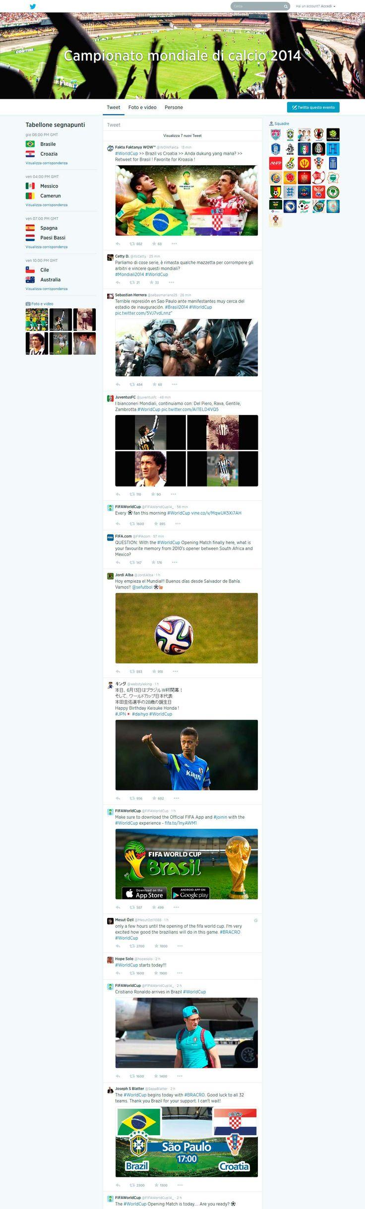 Twitter ha attivato hashtag pages localizzate per seguire i mondiali in diretta, con il tabellone segnapunti e la lista di tutte le partite giorno per giorno https://twitter.com/hashtag/WorldCup