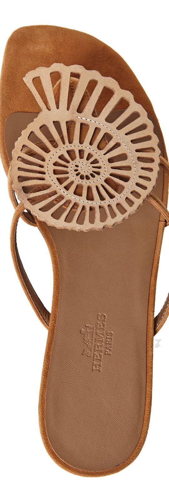 Hermes Brown Seashell Thong Sandals