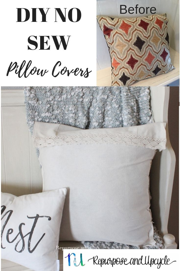 Easy Diy No Sew Pillow Cover From A Tablecloth No Sew Pillow