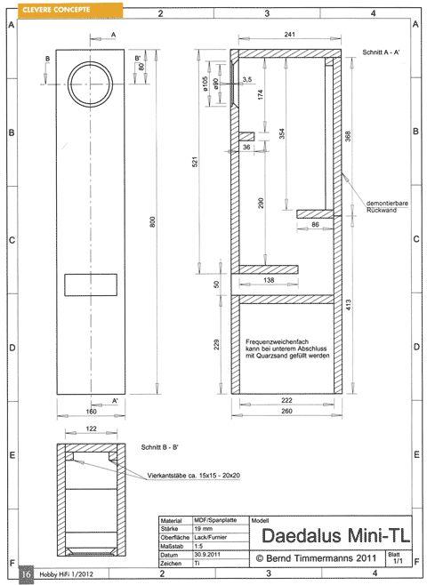 Hobby Hifi Daedalus Mini-TL - Bausatz ohne Gehäuse | hifisound.de | Der Lautsprecher Spezialist