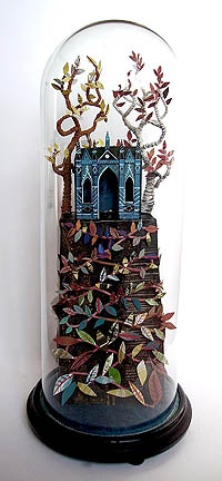 Cut paper sculpture inside a bell jar: Ed Kluz, The Gothic Temple: Bell Jars, Belle Jars, Gothic Temples, Dioramas Illustrations, Paper Art, Paper Crafts Artworks, Gothic Sculpture, Cut Paper, Paper Sculptures