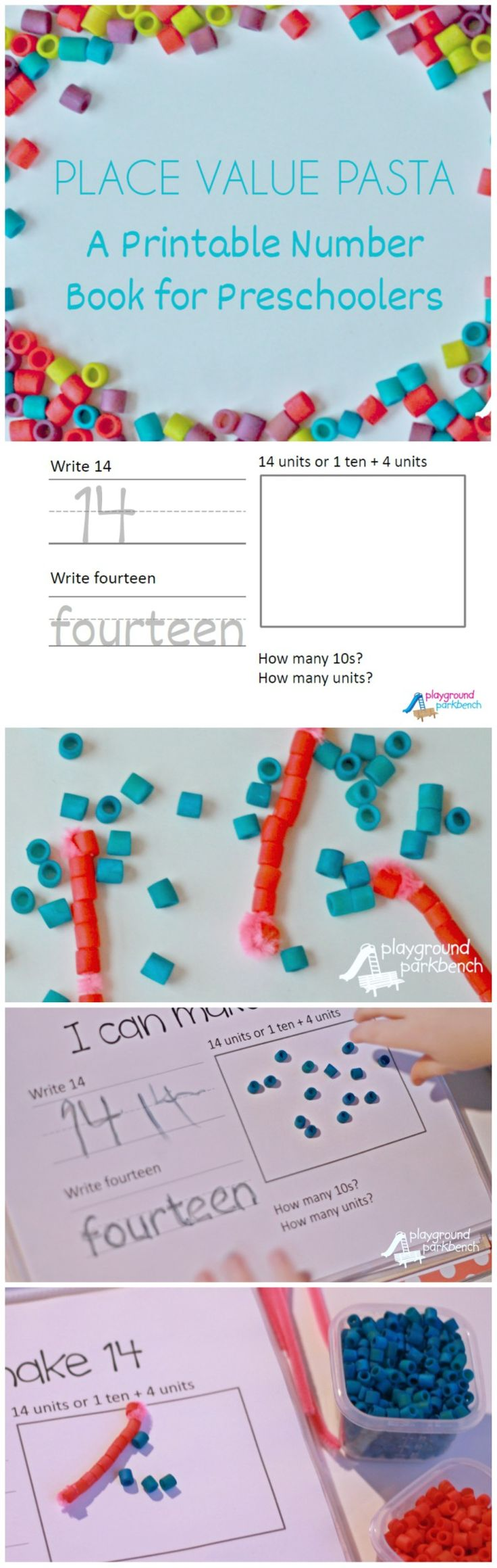 Teaching Place Value - Free Printable Number Book to Teach Your Preschooler Place Value with Pasta
