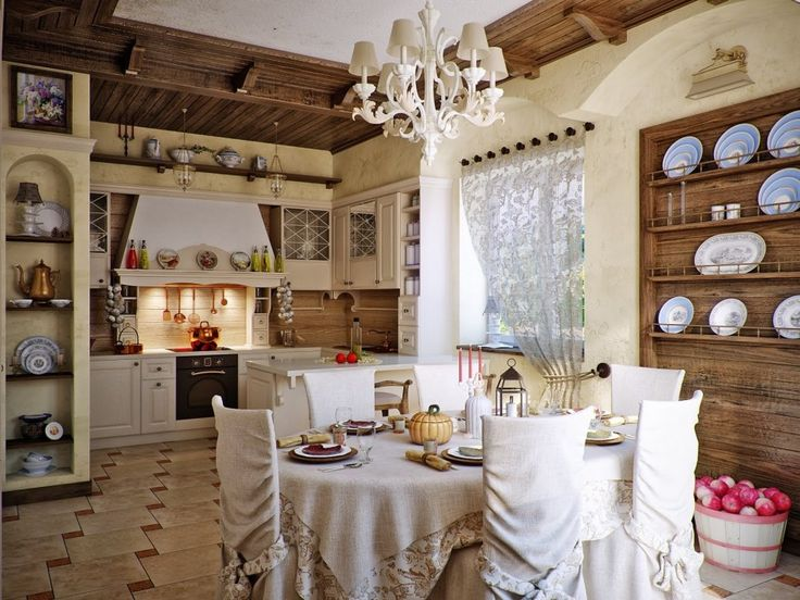 Kitchen, Country Chic Kitchen Diner Design Wooden Wall Dining Table Plates  Chandelier Apple Pink Artistic Kitchen Bottle Cabinet Storage Materials  Flooring ...