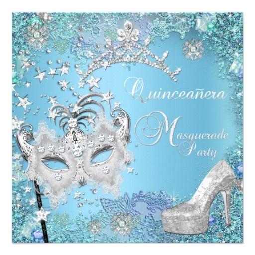 Masquerade Quinceanera 15th Party Blue Tiara Shoe Announcements