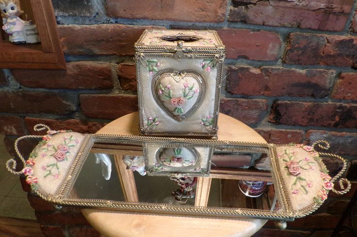 Victorian Dresser Set, Gift for her, Vintage Victorian Dresser set, Tissue box and mirror, Vanity tray, Gold décor, Victorian vanity tray by Morethebuckles on Etsy