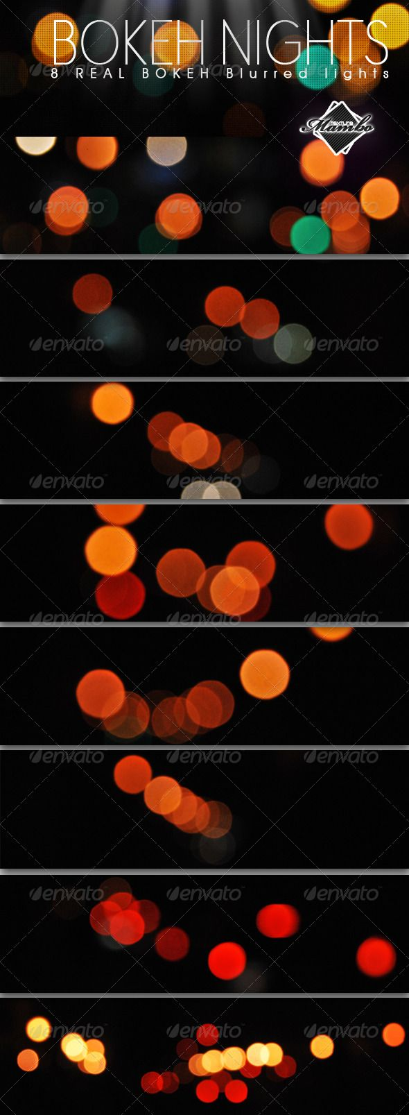 """Bokeh Nights - Real blurred lights - """"Bokeh Nights"""" is a pack of 8 real blurred lights. High res .jpg.  Useful resource for almost any kind of design, from flyers to web. Try the blend modes & get a real effect of blurring light. Or make your own brushes, patterns & lights, from this image set."""