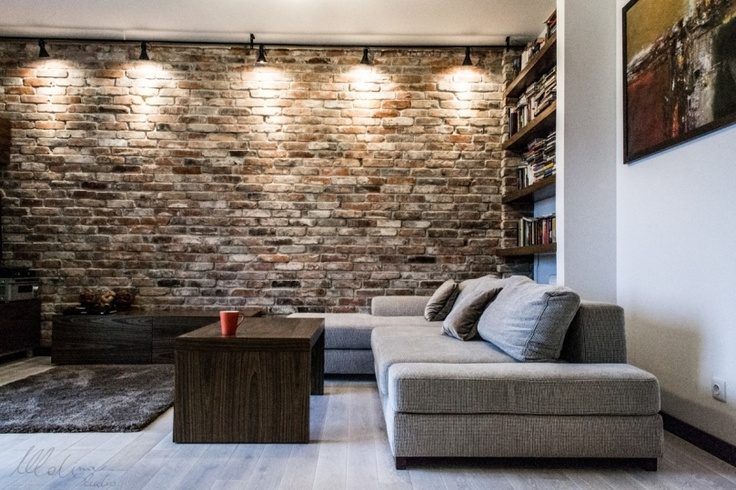 brick wall, grey sofa, wood and plush carpet - lighting highlighting the brick.