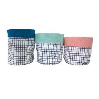 OTHER - Minimal Grid Storage Bags - Set Of Three - Kerridge Linens & More