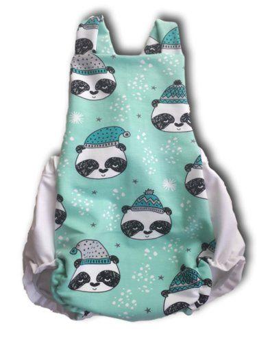 Ranita bebé invierno con panda mint. Hecha con tejido de algodón orgánico.  29 4f61feddd258