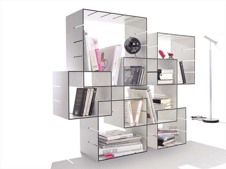 Wall-mounted sectional bookcase KONNEX by Müller Möbelwerkstätten | design Florian Gross
