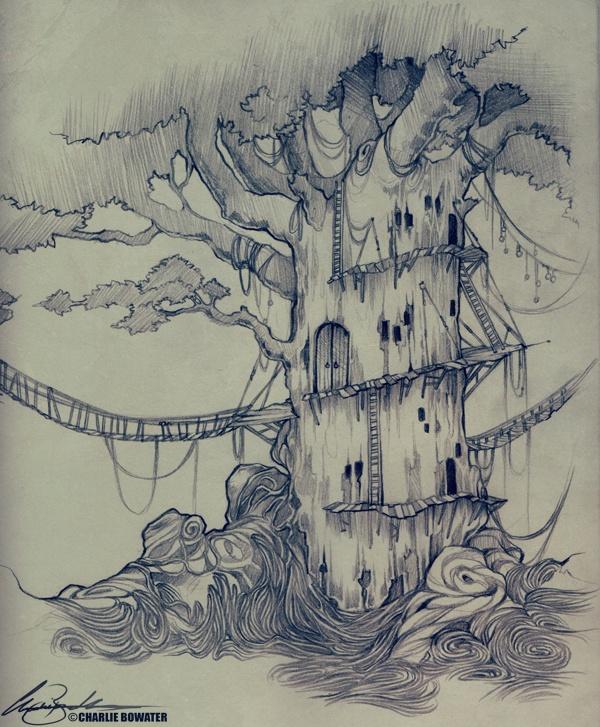 фантастический лес рисунок карандашом удовольствием