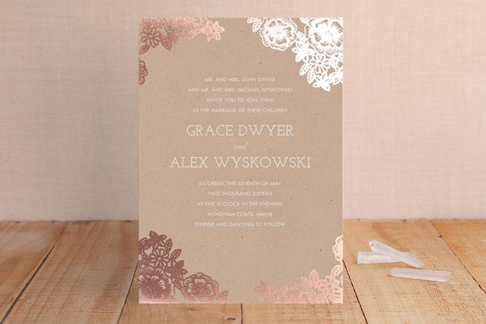 Lace and Kraft Foil-Pressed Wedding Invitations... | Minted