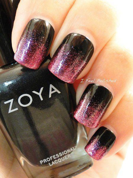 #Pink and #Black #Gradient - bellashoot.com #nails #Nailart