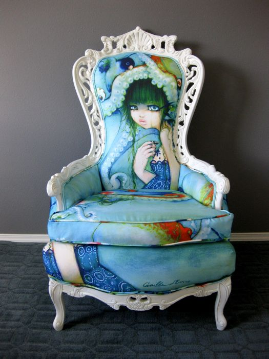 """Love this chair my cousin made!!!!!!   Throne chair by Rubbish Rehab featuring the painting """"Loveless Bird"""" by Camilla d'Errico"""