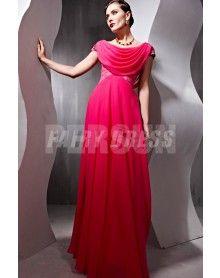 Robe de soirée moulante rouge ornée de strass à encolure drapée aux manches courtes en Tencel €179,01