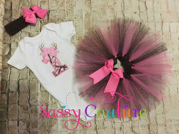 Camo 1st birthday tutu outfit or any age, pink camo tutu,hunting birthday tutu, number with antlers tutu outfit,pink camo hunting birthday by SassyCoutureCreation on Etsy