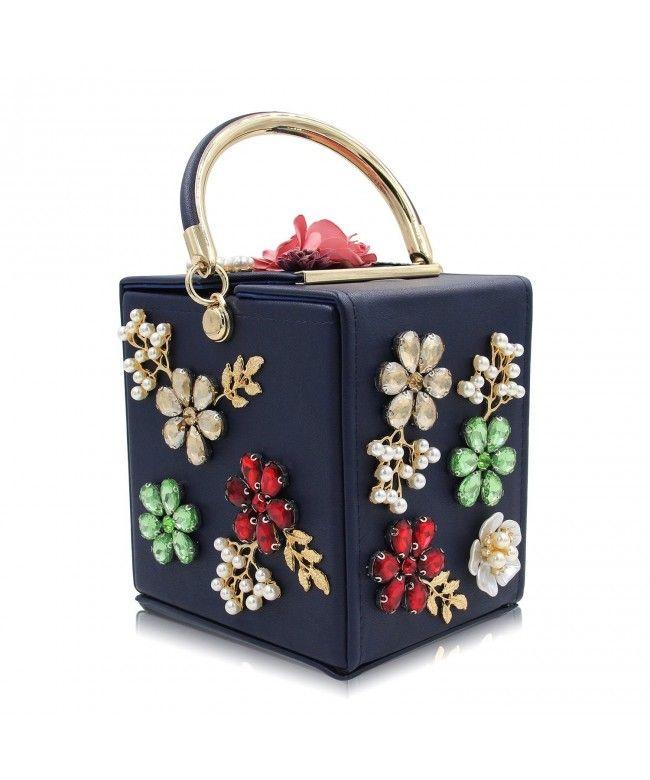 090a1ec489ac3e Women's Clutches Handbag Beaded Flower Box Evening Bag Wedding Party Purse  - Navy Blue - CV186HXXWKT #Bags #Handbags #ClutchesBags #EveningBags #Style