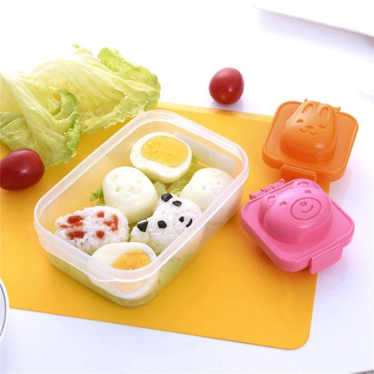 2Pcs/set  Cute Cartoon Bear And Rabbit Boiled Egg Rice Mold Bento Sushi Mold Maker DIY Kitchen Tools Orange/Pink