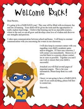 SUPER HERO Theme Classroom DecorBack to School / Welcome Back ActivitiesFormat: MS Word (editable)1.  Welcome Back Letter to Parents2.  Parent Packet Letter3.  Our Schedule4.  Homework Contract5.  Classroom Contract6.  All About My Student7.  All About Me8.