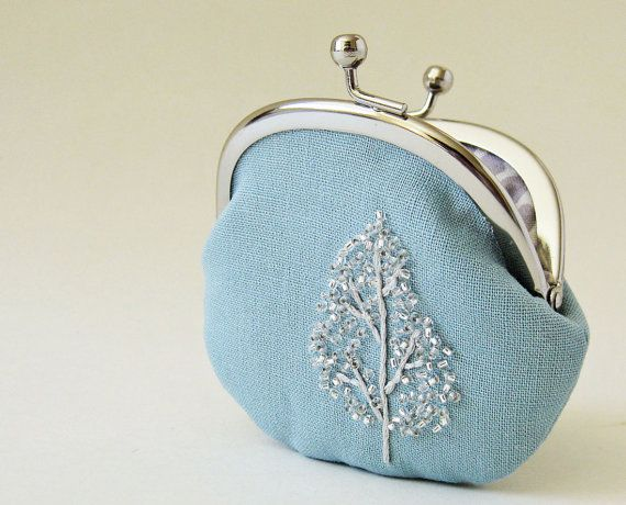 Coin purse - winter tree on blue linen on Etsy, $42.00