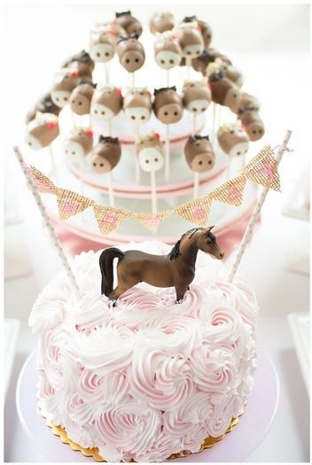 Hostess with the Mostess® - Pink and Brown Pony Party :: love that cake with the horse on top!