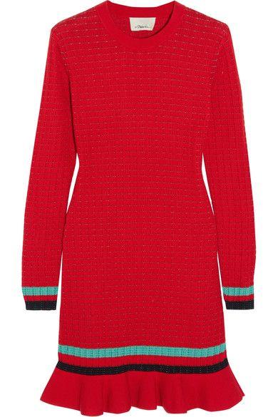 3.1 Phillip Lim - Ribbed-knit Stretch-cotton Mini Dress - Red -