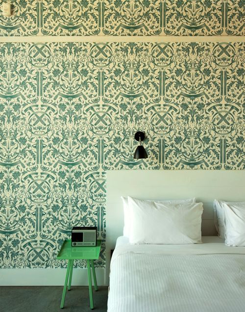 new spin on tradition: Green Interiors, Pattern, Color, Wyth Hotels, White Beds, Prints, Design Home, Brooklyn, Accent Wall