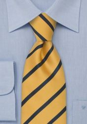 XXL-Kravatte Streifen-Dekor goldgelb nachtblau günstig kaufen