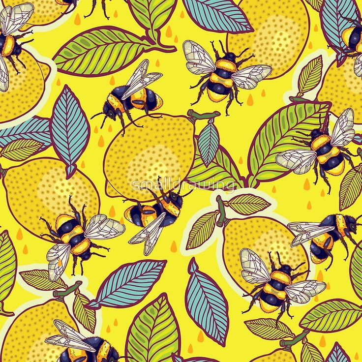 """Yellow lemon and bee garden."" Photographic Prints by smalldrawing 