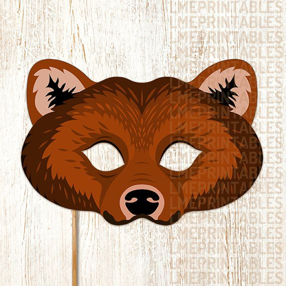 Bear Mask PDF File Ready to Print Cut and Enjoy! This item Include: • PDF files ready for printing and instructions for making the mask. • JPG files ready for printing and instructions for making the mask. Features: • Large eye holes for wearing comfort. • Paper Format A4: 21 x 29,7