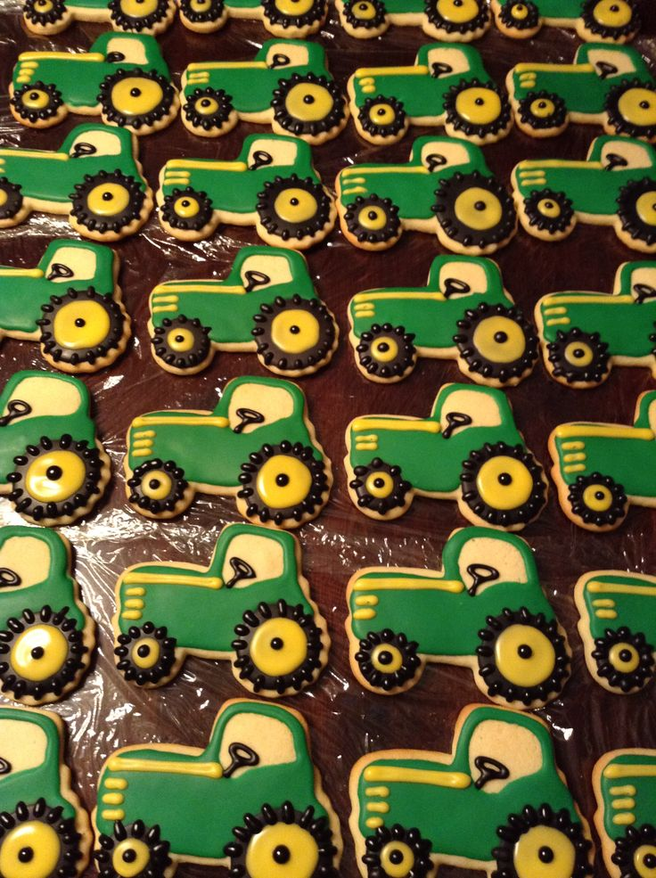 tractor cookies: maybe these at each place setting instead of the snowflake?  Could double as a favor!