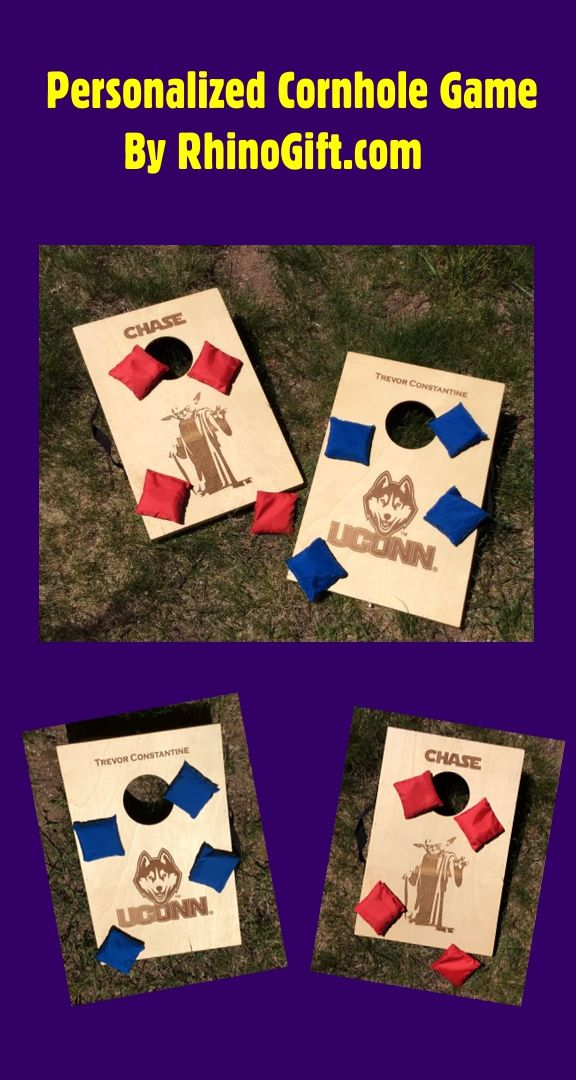 """Personalize this wooden cornhole bean bag game with a logo and/or text. Perfect game for any age and athletic ability. Customize yours today at RhinoGift.com. Size: 10.5"""" x 15.75"""" Comes with 2 boards and 8 bean bags. Call for one day service. #game #fun #outdoors #bean #bag #cornhole #custom #personalized #uconn #yoda #gift #ideas #gifts #present #presents #grad #graduation"""