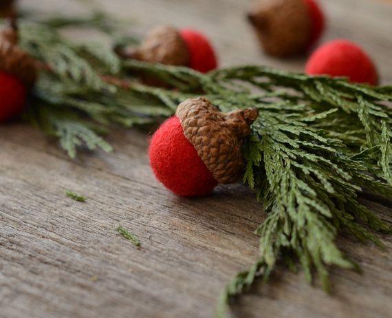 Felted Acorns, red festive christmas holiday decor ecofriendly READY to SHIP on Etsy, $12.00