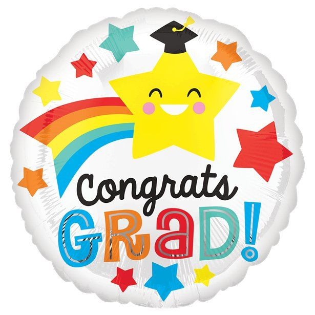 "Congrats Grad Smile Balloon - 18"" Foil - Graduation Party Balloons & Decorations (each)"