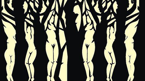 Doble Gestalt: Se aprecia un bosque, pero si enfatizamos la vista, se verán 6 chicas desnudas.