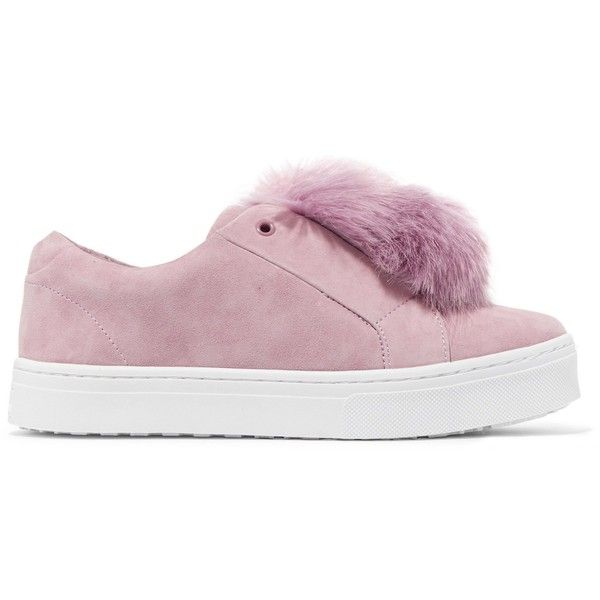 Sam Edelman Leya faux fur-embellished suede slip-on sneakers ($49) ❤ liked on Polyvore featuring shoes, sneakers, pink, pink slip on shoes, pink suede sneakers, pink suede shoes, suede slip-on sneakers and embellished sneakers