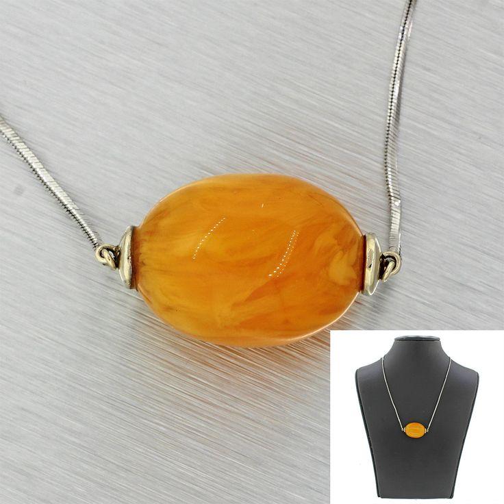 Beautiful Modern 14k Solid White Gold Baltic Amber Orange Pendant Necklace