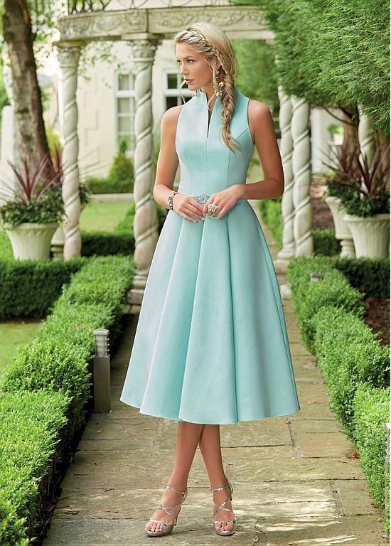 [83.99] Gorgeous Satin High Collar Neckline Tea-length A-line Bridesmaid Dresses With Beadings
