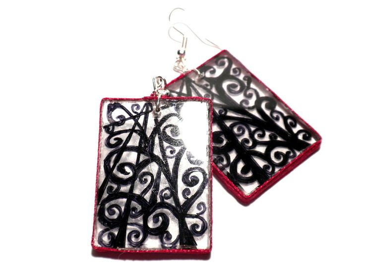 #drawing #earrings #handmade #black #zigzag #Plexi