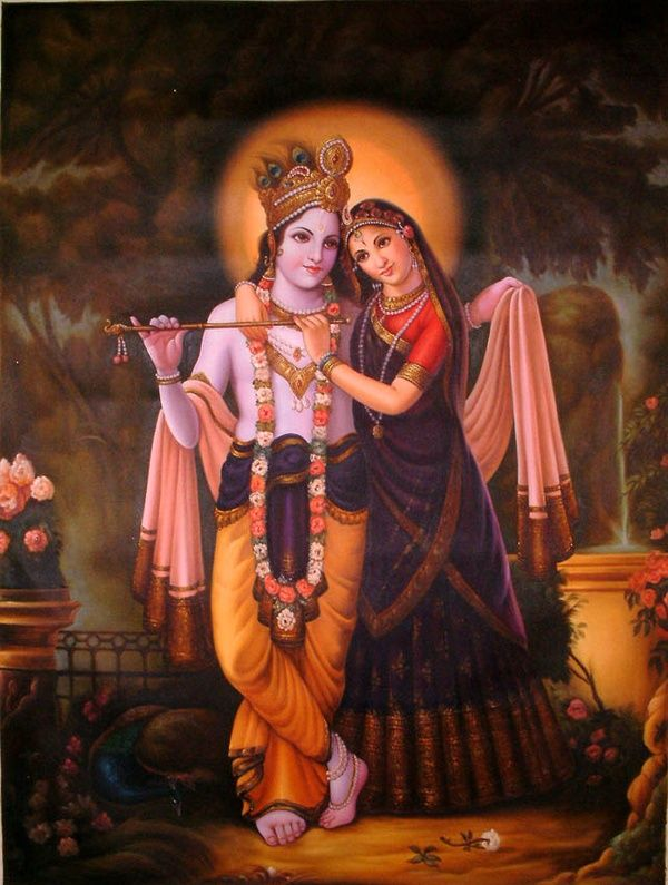 Bound in Heart, Mind, Body and Soul    Radha and Krishna are the theme of much of the medieval and later mystico-erotic poetry and cults in India. They represent spiritual dawn in the garb of erotic, physical love. The beautiful, lyrical poems of Jayadeva's Gita-Govinda have inspired a series of paintings.❤️❤️