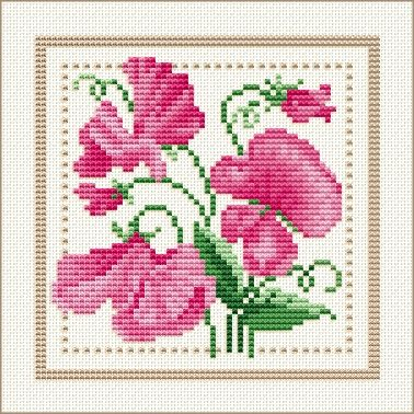Project 2010 - Flower of the Month Motif 04 for April: Sweet Pea by Ellen Maurer-Stoh free pattern on Ellen Maurer-Stoh at http://www.maurer-stroh.com/EMS2010_April_04.html