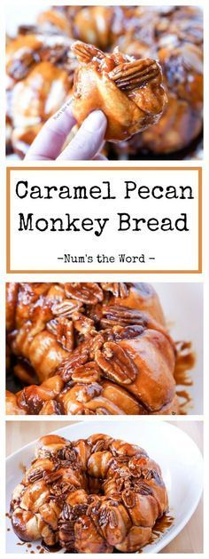 This Caramel Pecan Monkey Bread is a tasty overnight breakfast or brunch item. Perfect for Christmas morning, birthdays or baby showers! #breakfast #brunch #caramel #pecan #caramelpecan #monkeybread #bread #babyshower #party #tailgate #dessert #recipe #numstheword