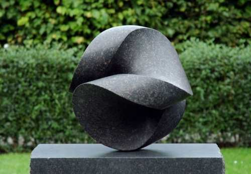 Danish granite Abstract sculpture by artist Jens Ingvard Hansen titled: 'Otolith (Carved Granite Stone Garden Sculpture)' #sculpture #art