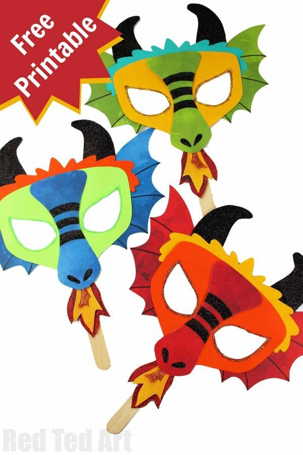 Diy Dragon Mask Printables Red Ted Art Make Crafting With Kids Easy Fun Dragon Crafts Chinese New Year Crafts For Kids Kids Art Projects