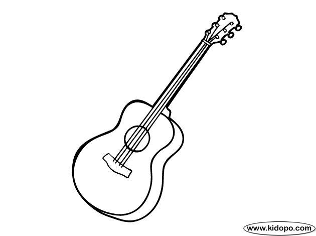 simple guitar coloring pages