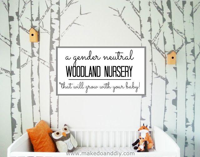 Gender neutral woodland nursery that will grow with your baby, www.makedoanddiy.com
