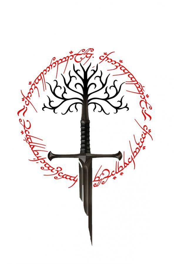 Lord of the rings sword of the king the white tree of gondor and ring of power