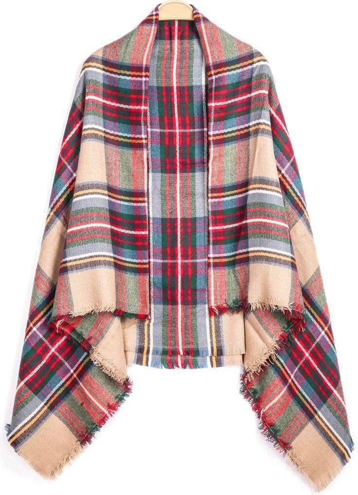 Pretty plaid blanket scarf