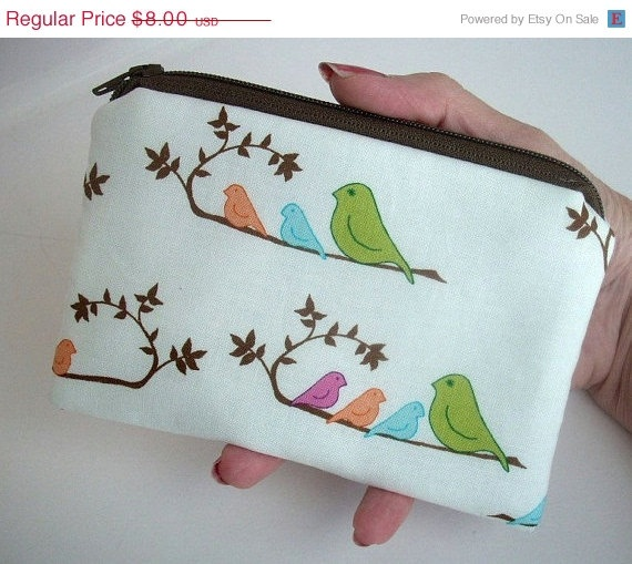 40% Off SALE Zipper pouch ECO Friendly Padded Little Coin Purse Bird line up by JPATPURSES, $4.80