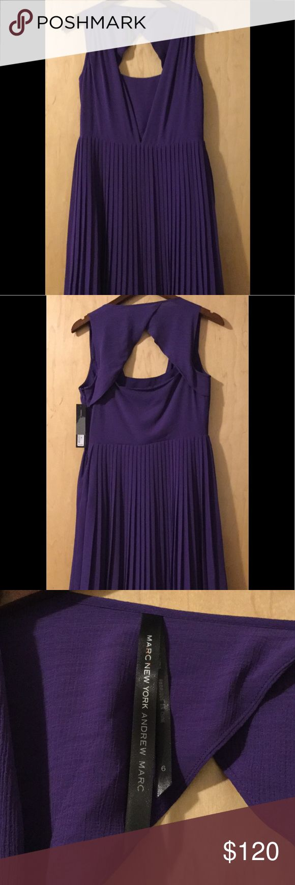 Andrew Marc Dress! Dark Purple Pleated chiffon Andrew Marc Dress! Dark Purple Pleated Fully lining,polyester. Absolutely outstanding. Andrew Marc Dresses Midi